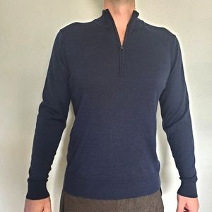 Smartwool blue half zip long sleeve sweater